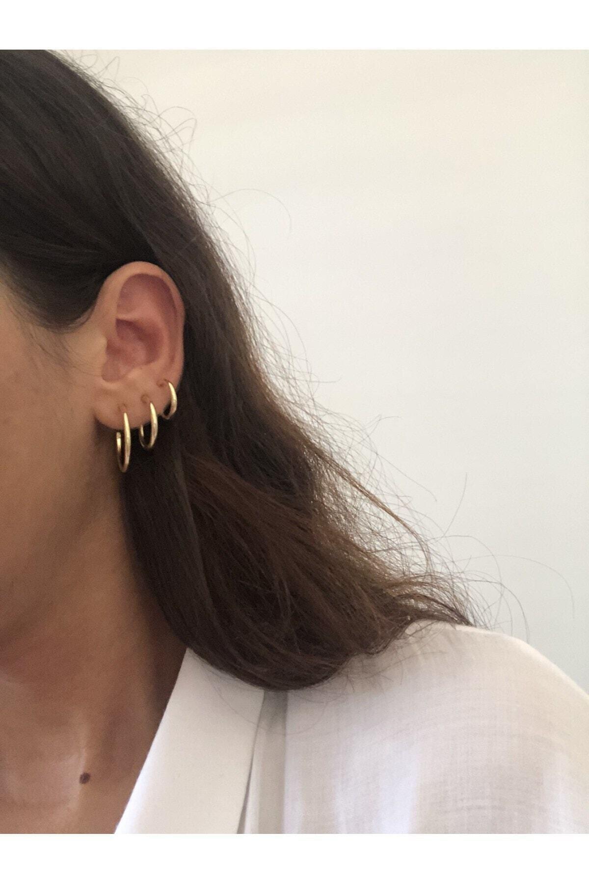 The Y Jewelry Kadın Altın Renk Halka Küpe 3'lü 2