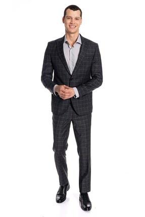 İgs Erkek Füme Slım Fıt / Dar Kalıp 7 Cm Ince Kırlangıç Yaka Takım Elbise