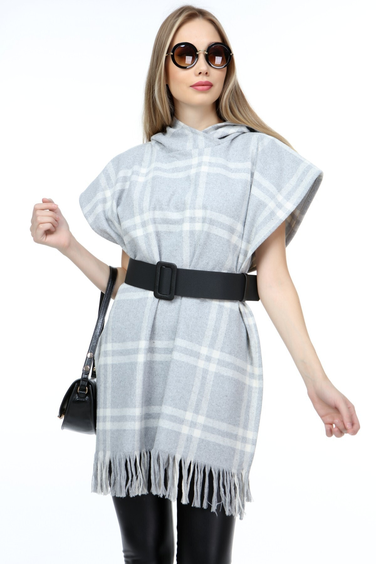 ECYM FASHION Kadın Kapüşonlu Panço Elbise X10351 1