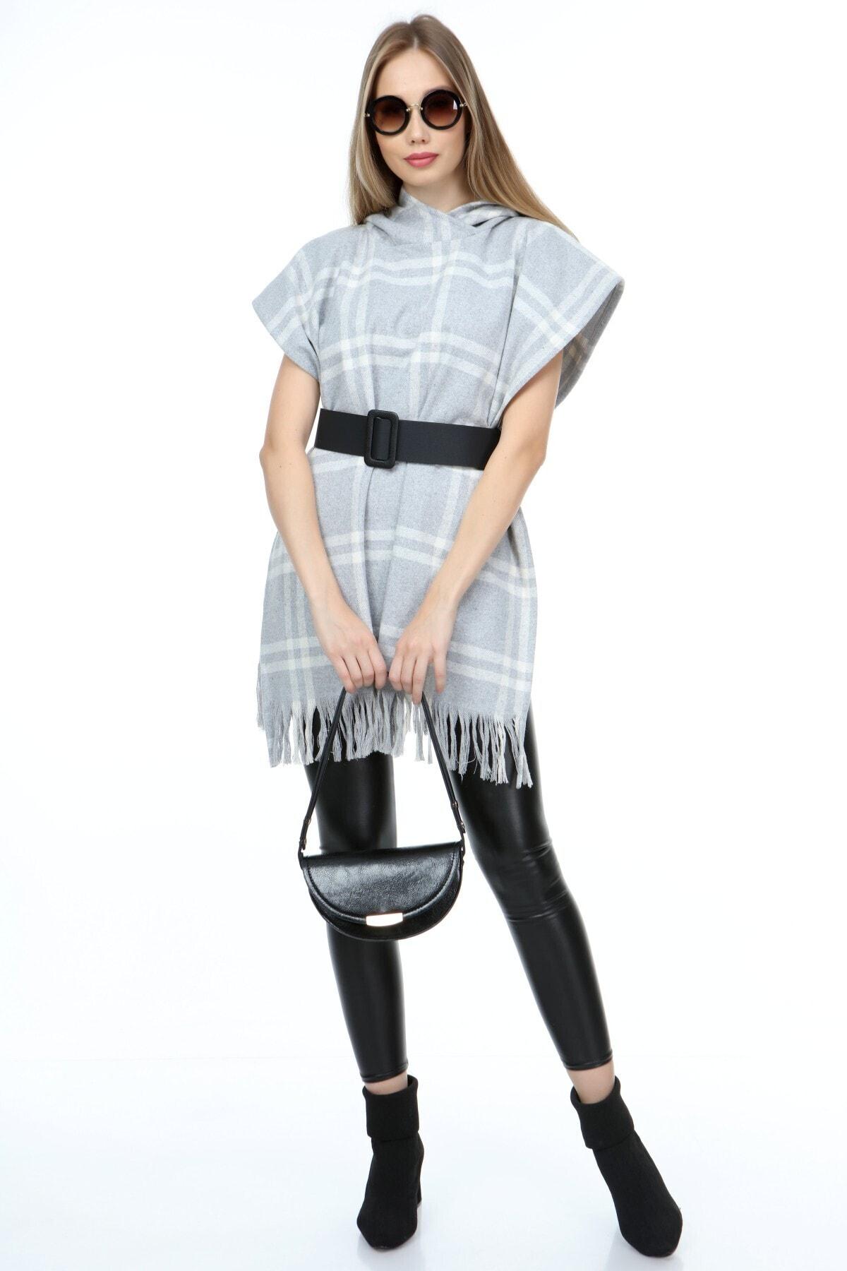 ECYM FASHION Kadın Kapüşonlu Panço Elbise X10351 2