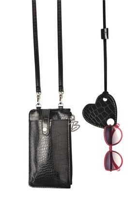 Bakras Siyah Krokodil Telefon Çantası Ve Gözlük Ipi Takım