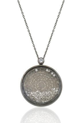 Gümüş Pazarım Siyah Kaplama Esma- Ül Hüsna Yazılı Camlı Gümüş Kolye