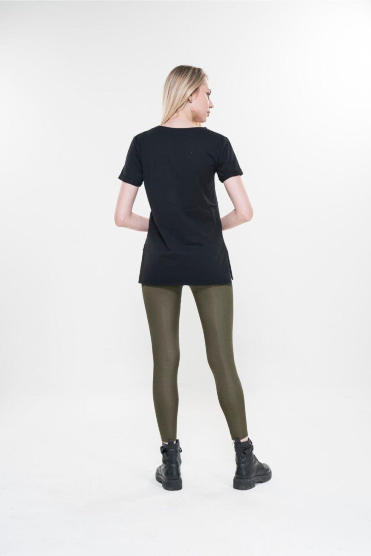 Boutique Calidad by Paris Kadın Yanları Yırtmaçlı V Yaka Tshirt 2
