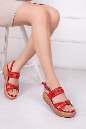 Deripabuc Hakiki Deri Kırmızı Taba Kadın Deri Sandalet Dp-20667