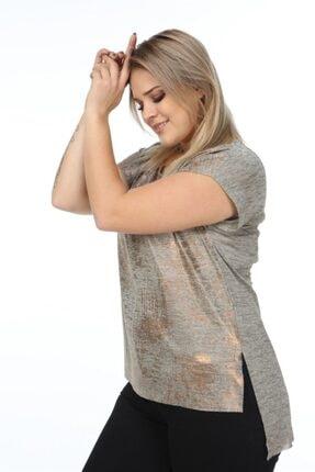 Seamoda Kısa Kol Sim Baskılı Yırtmaçlı T-shirt-coffee Copper