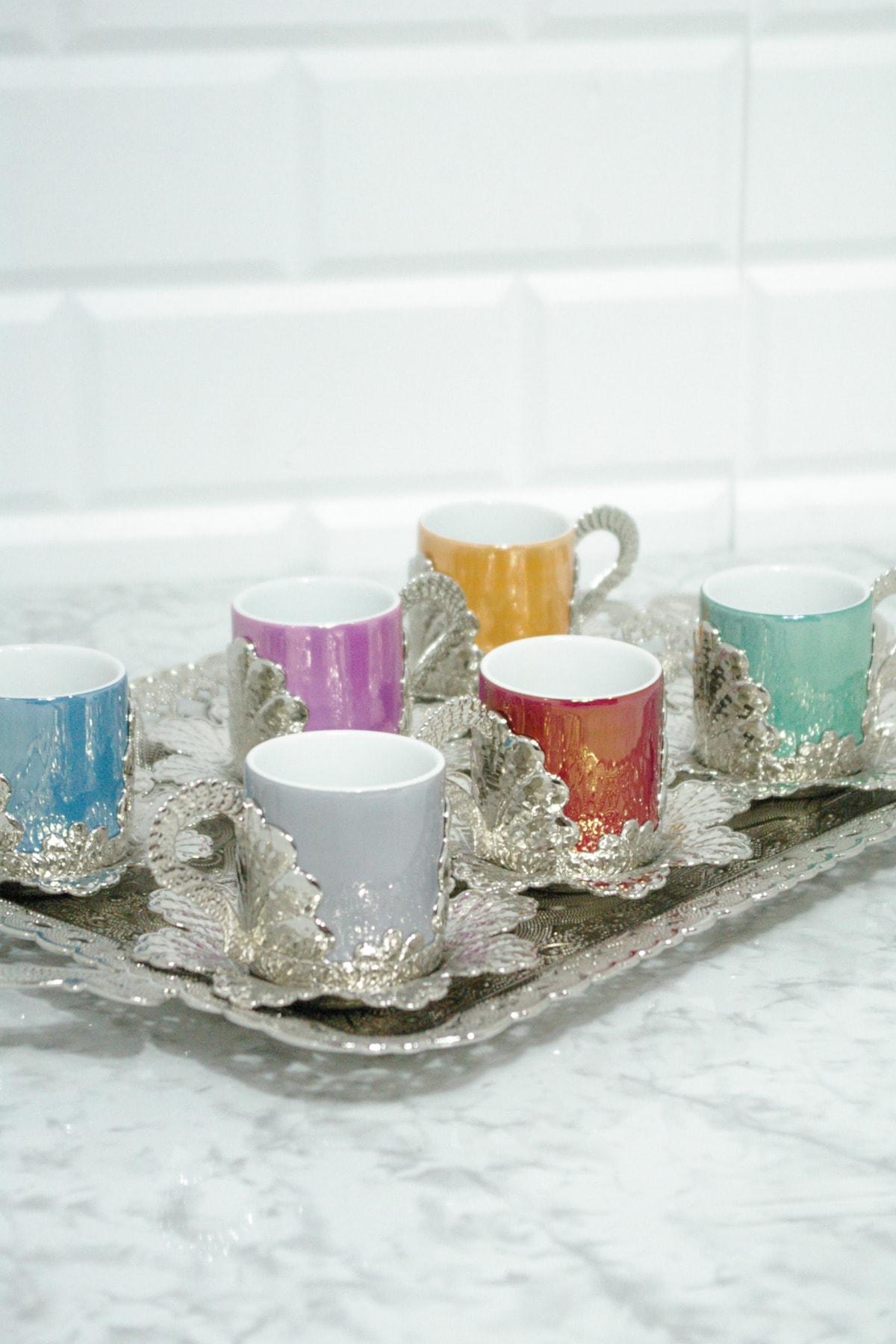 MAY HOME El Işlemesi Bakır 6 Kişilik Fincan Seti Porselen Hazneli 1