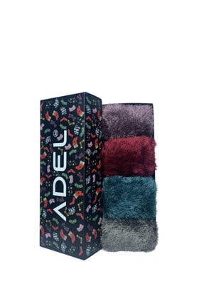 ADEL ÇORAP Karışık Renkli 4'lü Kutulu Kışlık Peluş Çorap Seti