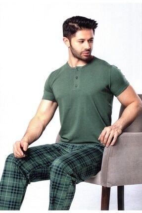 Aydoğan Erkek Haki Kısa Kol Üç Düğmeli Modal Kumaş Pamuklu Pijama Takımı