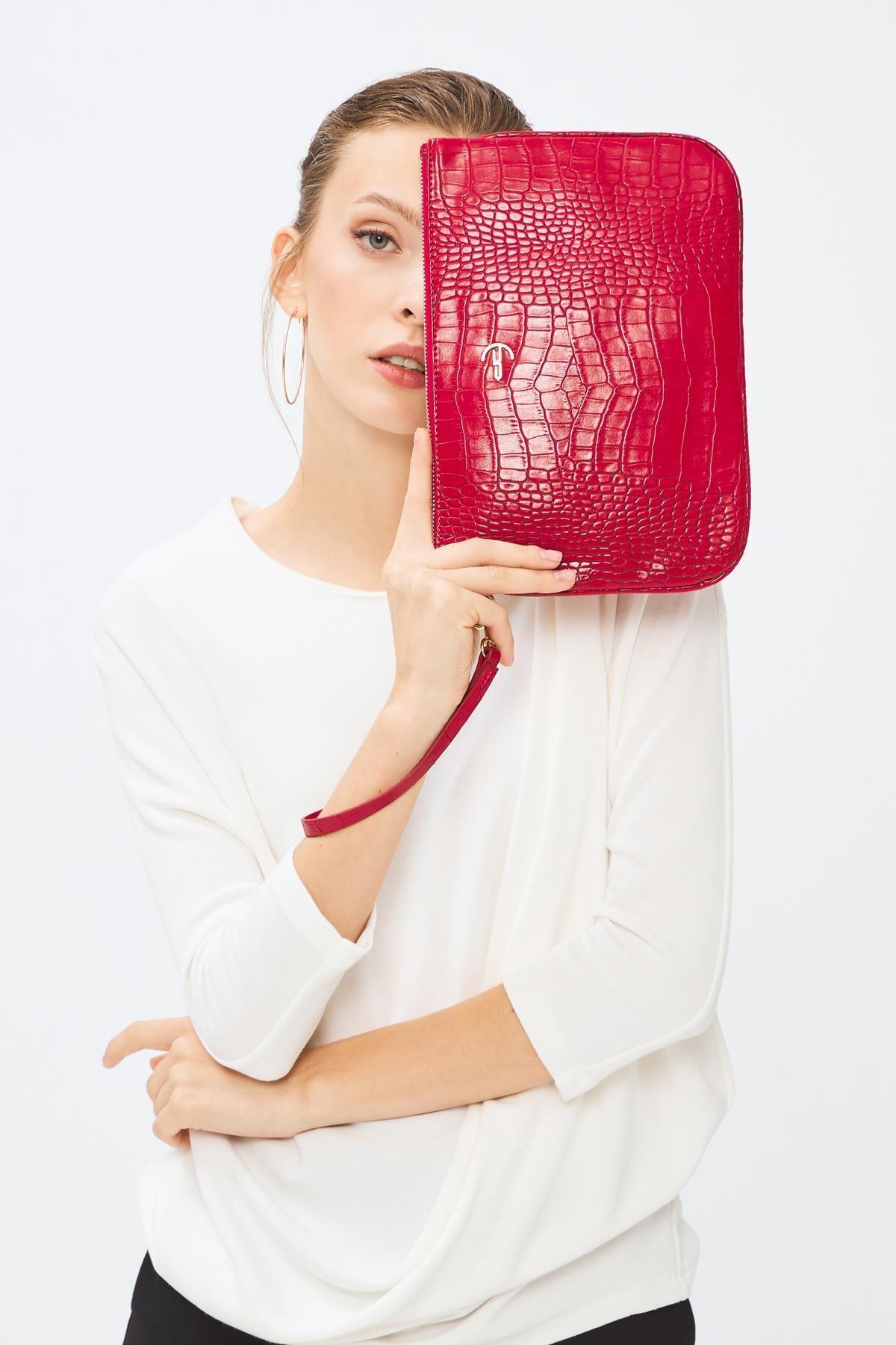 Deri Company Kadın Basic Clutch Çanta Kroko Timsah Desen Kırmızı 214002 1