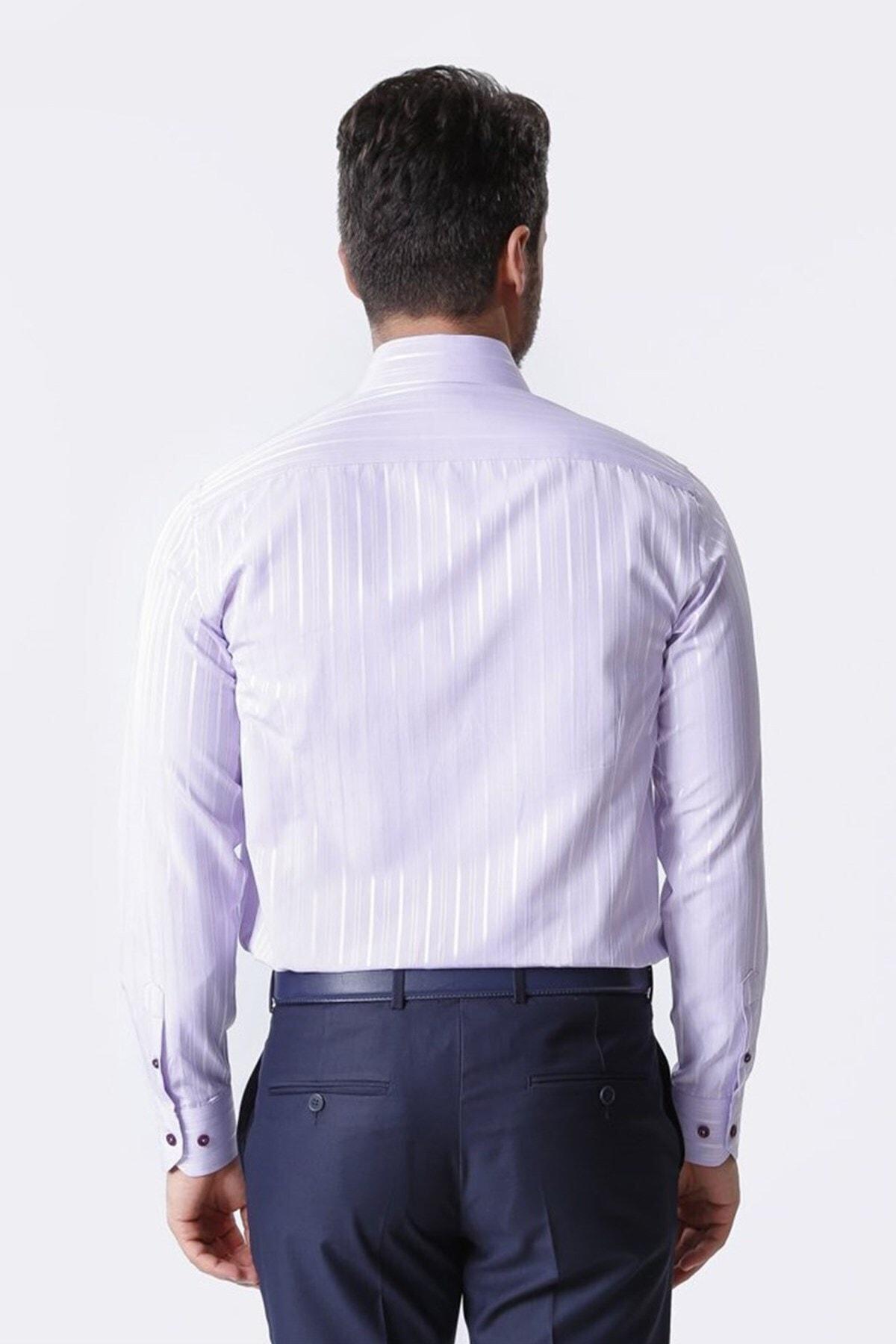 Ottomoda Uzun Kollu Armürlü Çizgili Erkek Gömlek Lila-003 2