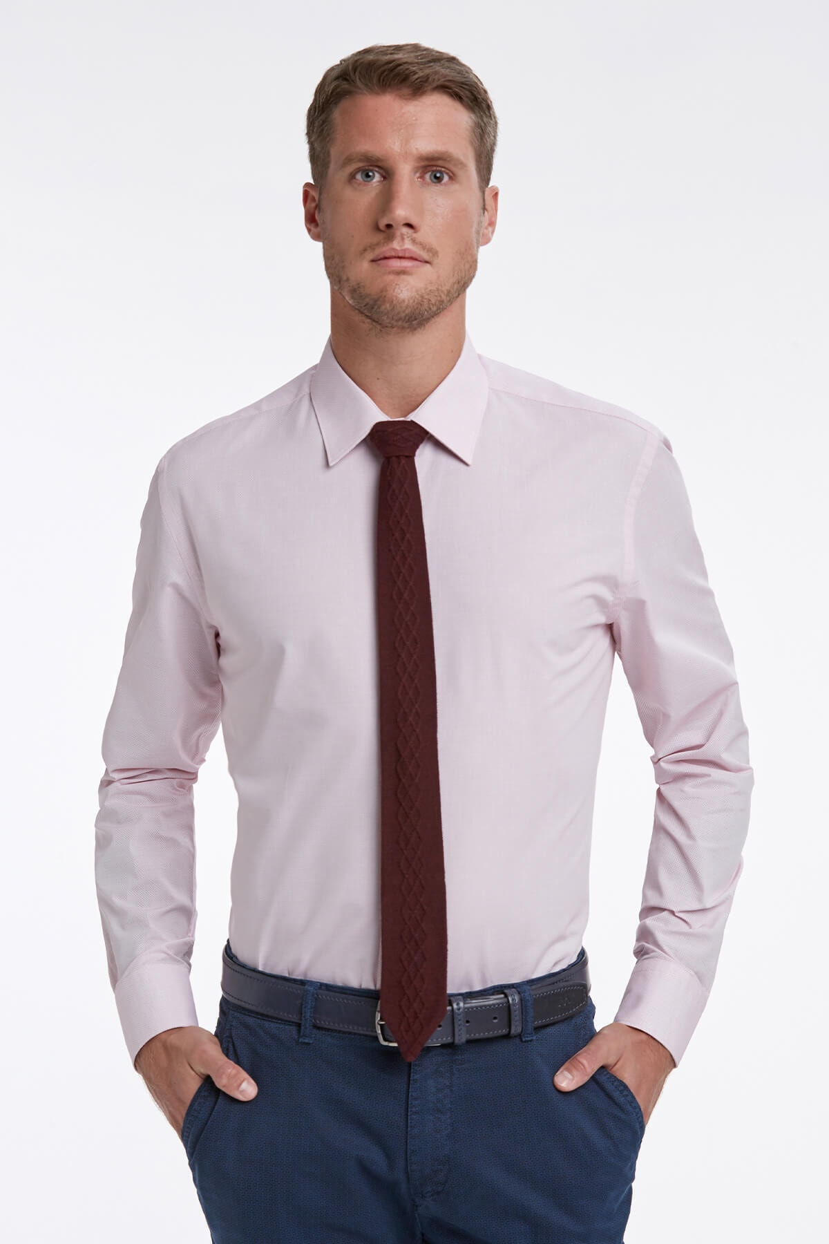 Hemington Dokulu Pembe Business Gömlek 1