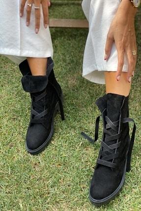 İnan Ayakkabı Bayan Fermuarsız Kalın Bağcık Detaylı Postal
