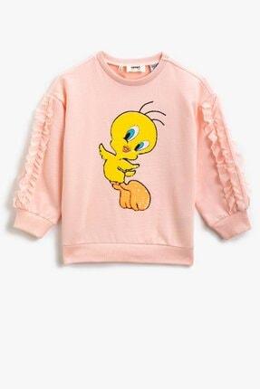 Koton Kız Çocuk Pamuklu Bugs Bunny Lisanslı Baskılı Pembe Sweatshirt 1kkg17317ak