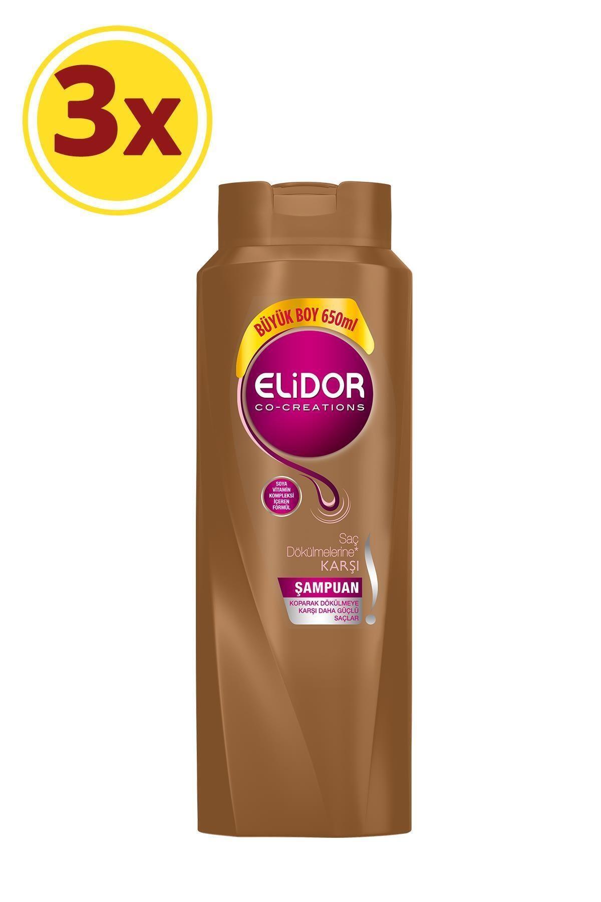Elidor Saç Dökülmesine Karşı Bakım Saç Bakım Şampuanı 650 ml X3 1