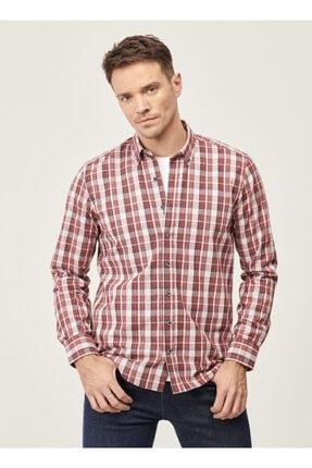 AC&Co / Altınyıldız Classics Erkek Bordo-lacivert Tailored Slim Fit Dar Kesim Düğmeli Yaka Kışlık Gömlek