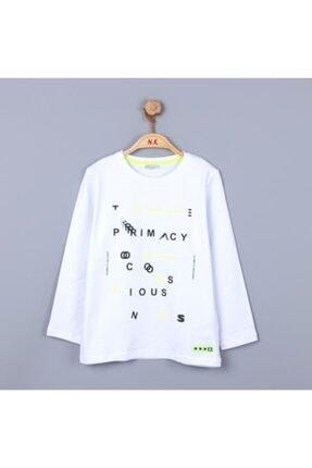 NK Erkek Çocuk Mevsimlik Lcralı Neon Yazılı Ince Uzun Kol T-shirt