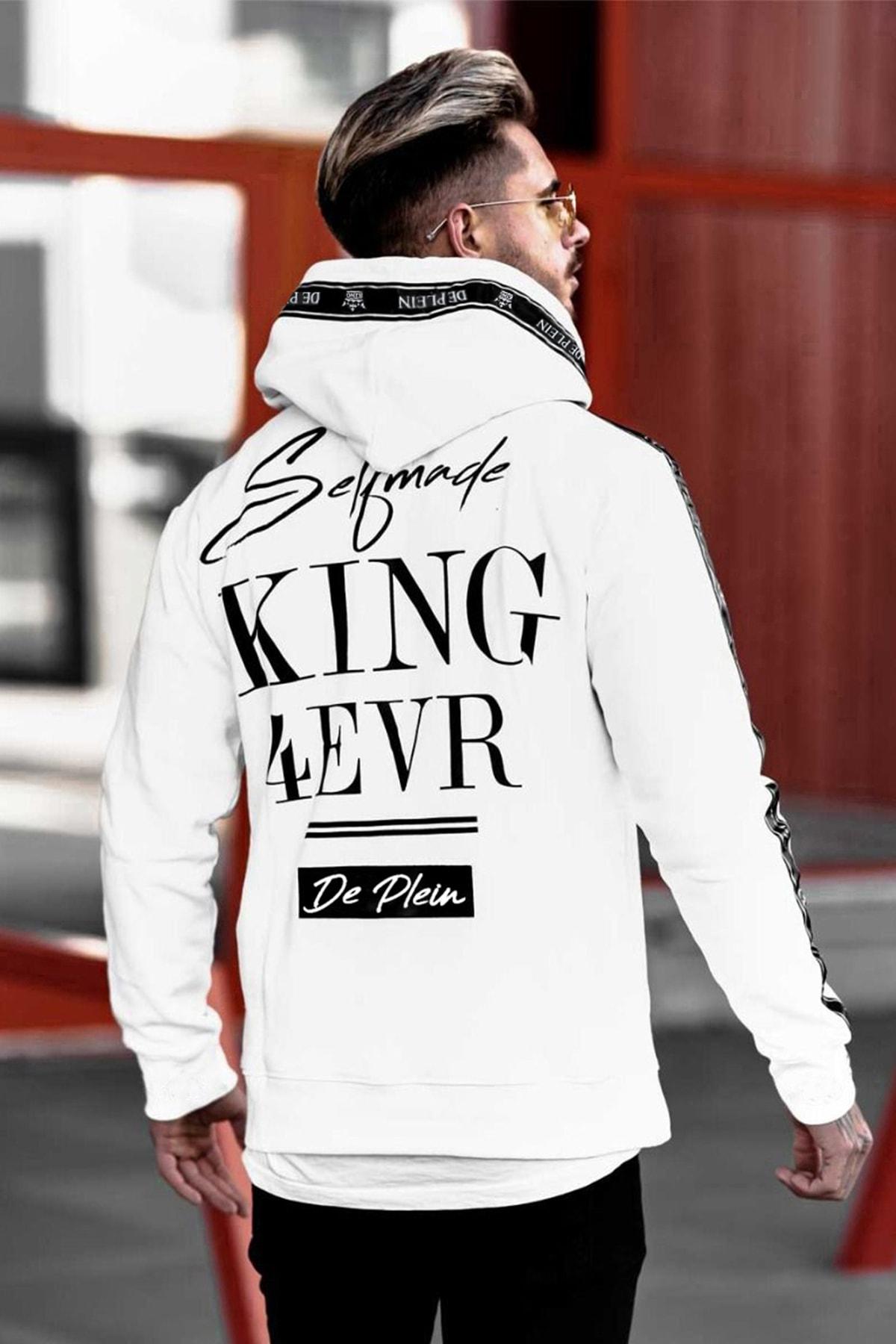 DE PLEIN Unisex King Beyaz Baskılı % 100 Pamuk Kapüşonlu Sweatshirt 1