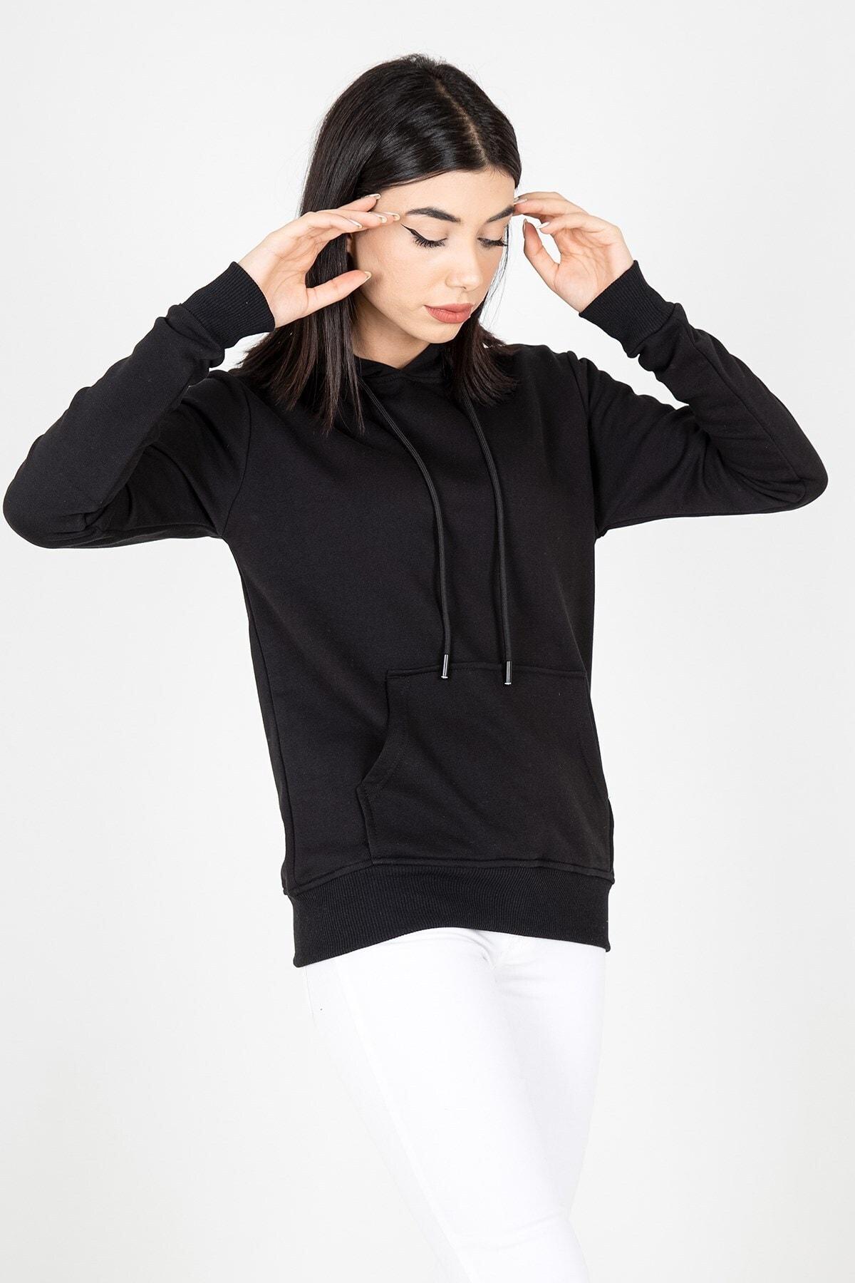 MY LIFE Mylife Kapüşonlu Kanguru Cep Kadın Sweatshirt Siyah - Mlf2735 2
