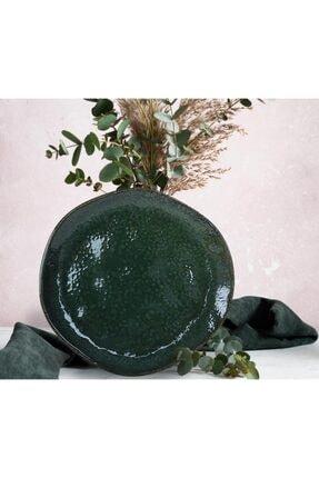 Keramika Tabak Organık Servıs 26 Cm Reaktıf Koyu Artıstık Yesıl Tekli
