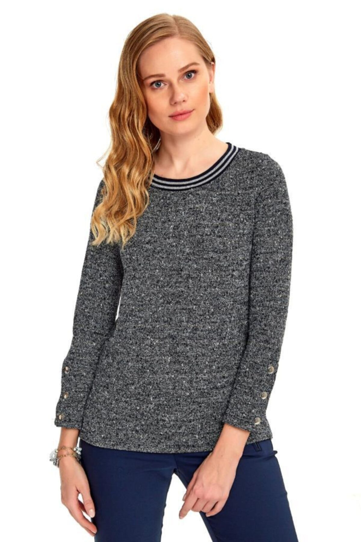İKİLER Kadın Gri Yakası  Bantlı Kolları Çıtçıtlı Triko Bluz 1