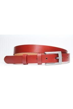 Livize %100 Hakiki Derisi Klasik Kadın Kemeri 2cm Kırmızı
