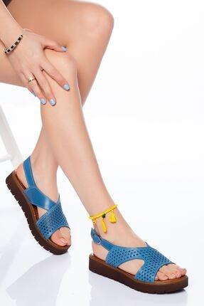 derithy Kadın Kot Mavi Hakiki Deri Sandalet