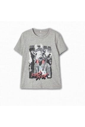 name ıt Erkek Çocuk  Gri Rockstar Hayvan Baskılı T-shirt