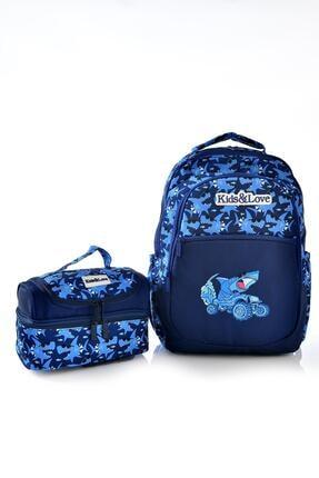KAUKKO Kids Love Shark Sırt Çantası L5036 Beslenme Çantalı Set