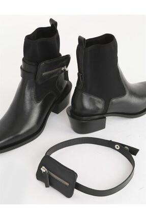 İLVİ Tepa Hakiki Deri Kadın Siyah Topuklu Bot