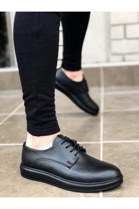 BOA Ba0003 Bağcıklı Klasik Siyah Yüksek Siyah Taban Casual Erkek Ayakkabı