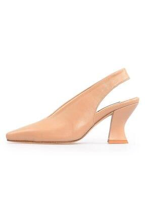 Flower Nude Deri Kalın Topuklu Kadın Ayakkabı