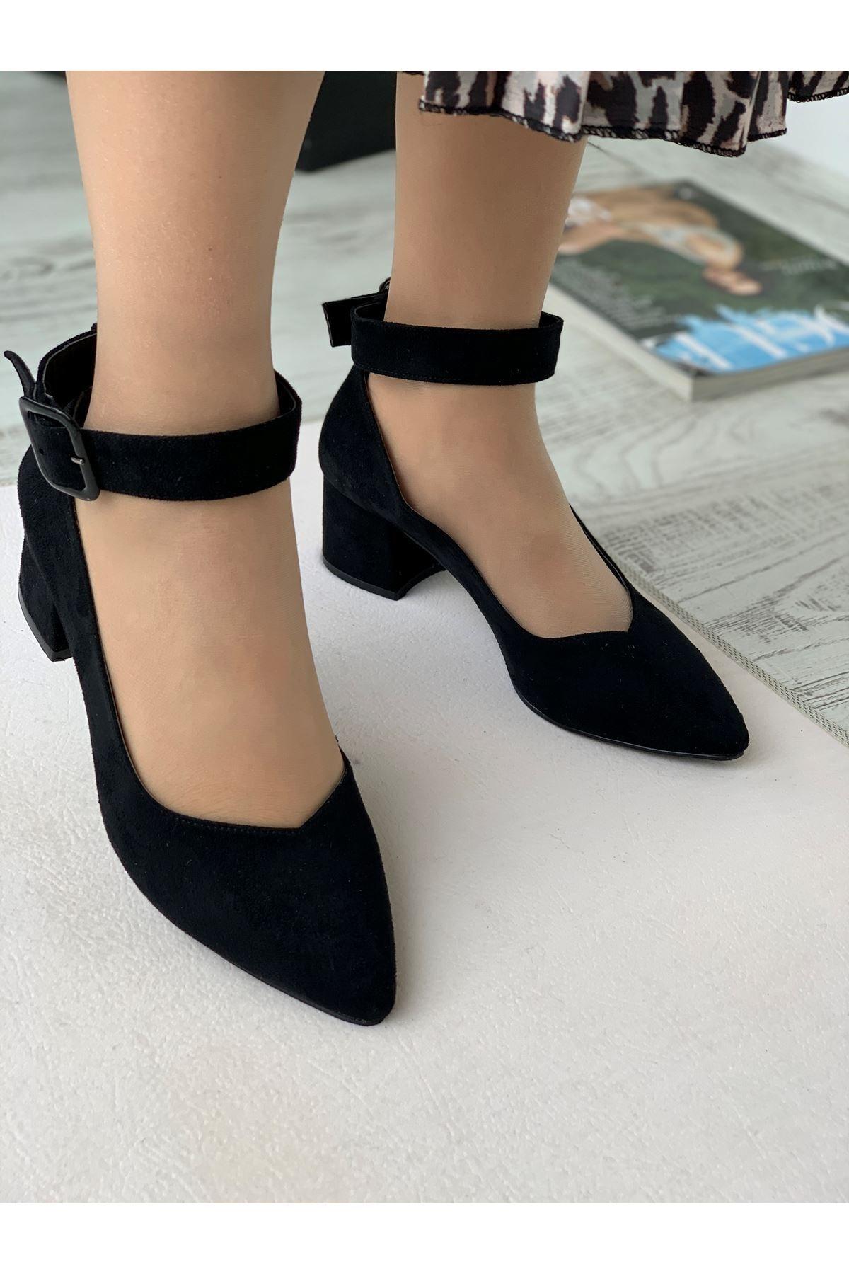 LDÇ Bilekten Kemer Detaylı Kadın Topuklu Ayakkabı-s. Siyah 2