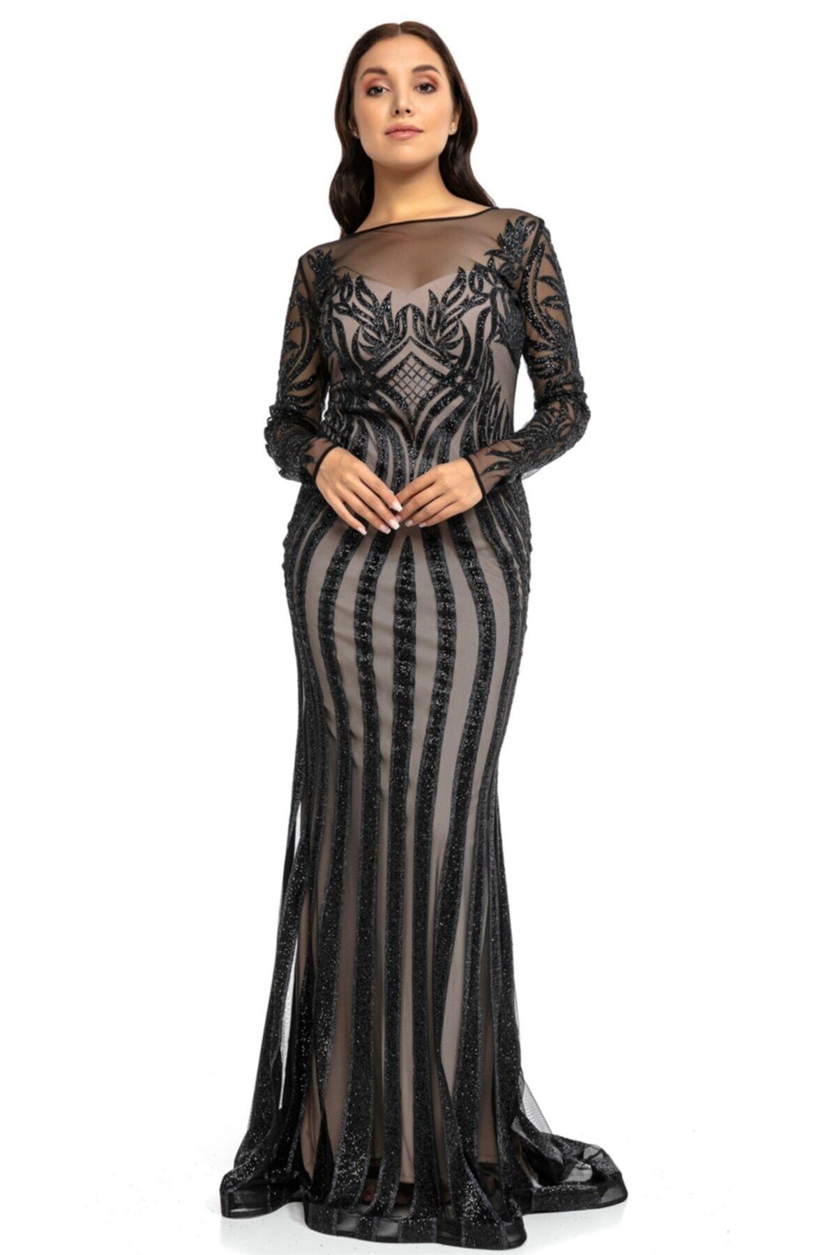 Abiye Sarayı Siyah Bej Transparan Simli Uzun Abiye Elbise 1