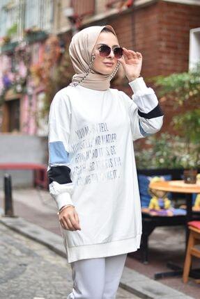 Loreen Kadın Neon Detaylı Beyaz Sweatshirt Tunik