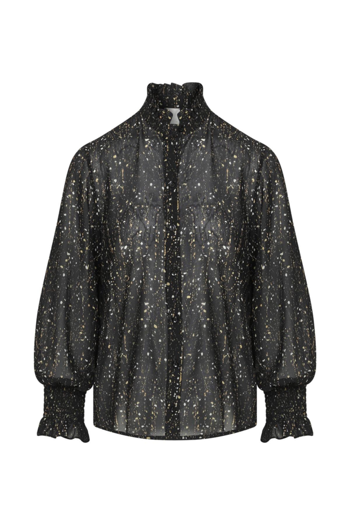W Collection Kolları Içten Elastikli Desenli Bluz 1