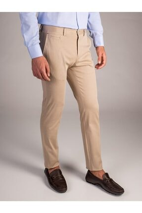 Dufy Bej Düz Erkek Pantolon - Slimfit