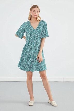 Journey Elbise V Yaka- Etek Katlı Büzgülü, Kısa Kol