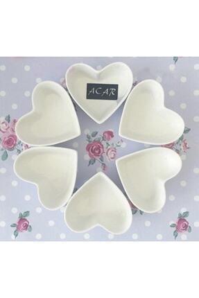 ACAR Kalp Porselen Çerezlik 7,5 Cm X 3,5 Cm 6 Adet
