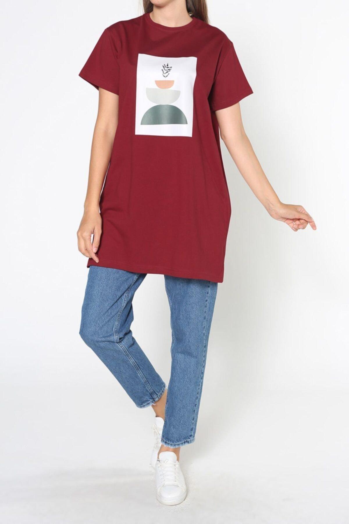 ALLDAY Bordo Baskılı Kısa Kol T-shirt 2