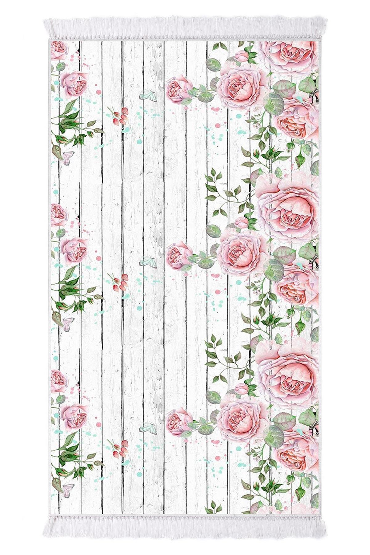 EXCLUSIVE Saray Dijital Halı Saçaklı Jana Çiçekli Beyaz Çiçekli 2