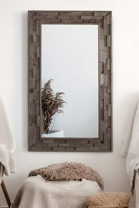 bluecape Doğal Ağaç Masif 58x98 Cm Jenga Gri Tahta Parçacıklı Salon Ofis Mutfak Duvar Konsol Boy Aynası