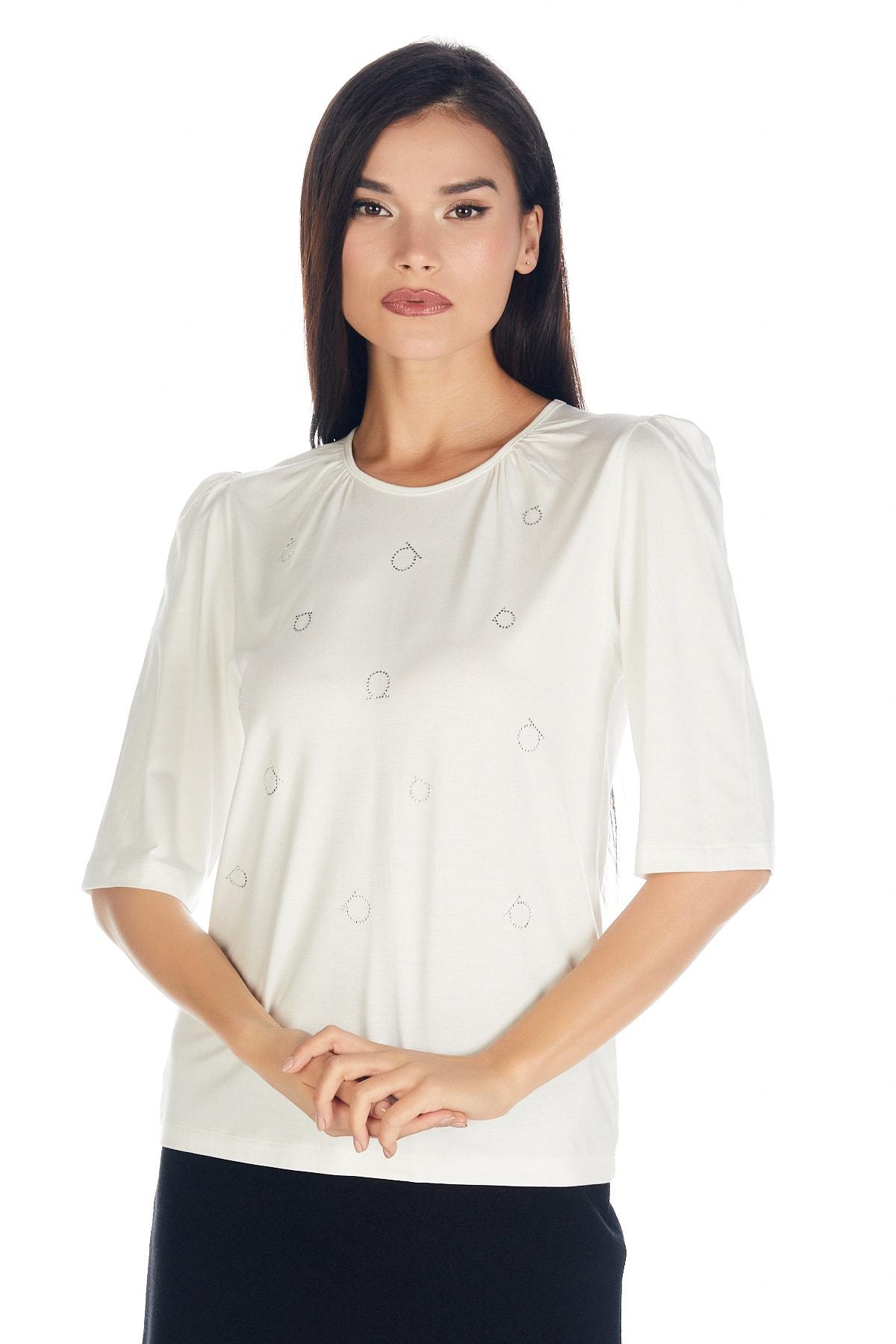 Solo Kadın Hotfix Viskoz-lycra T-shirt-bluz 2