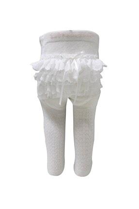 Bibaby Kız Bebek Jakarlı Dantelli Pamuklu Yumuşak Külotlu Çorap Ekru