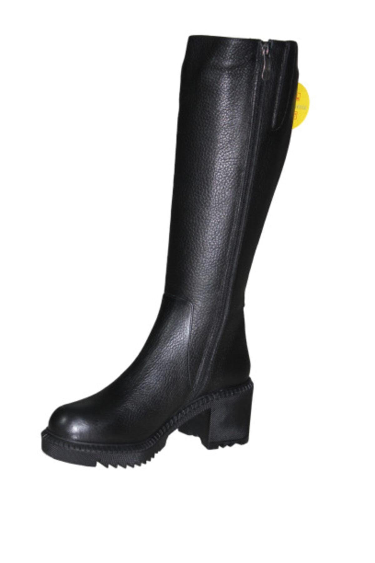 Mammamia D19kc-2065 Hakiki Deri Kadın Çizme - - Siyah - 39 2
