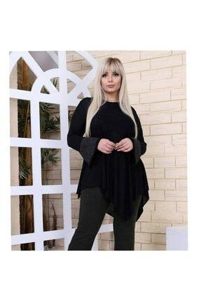 Womenice Büyük Beden Siyah Kolları Simli Tunik