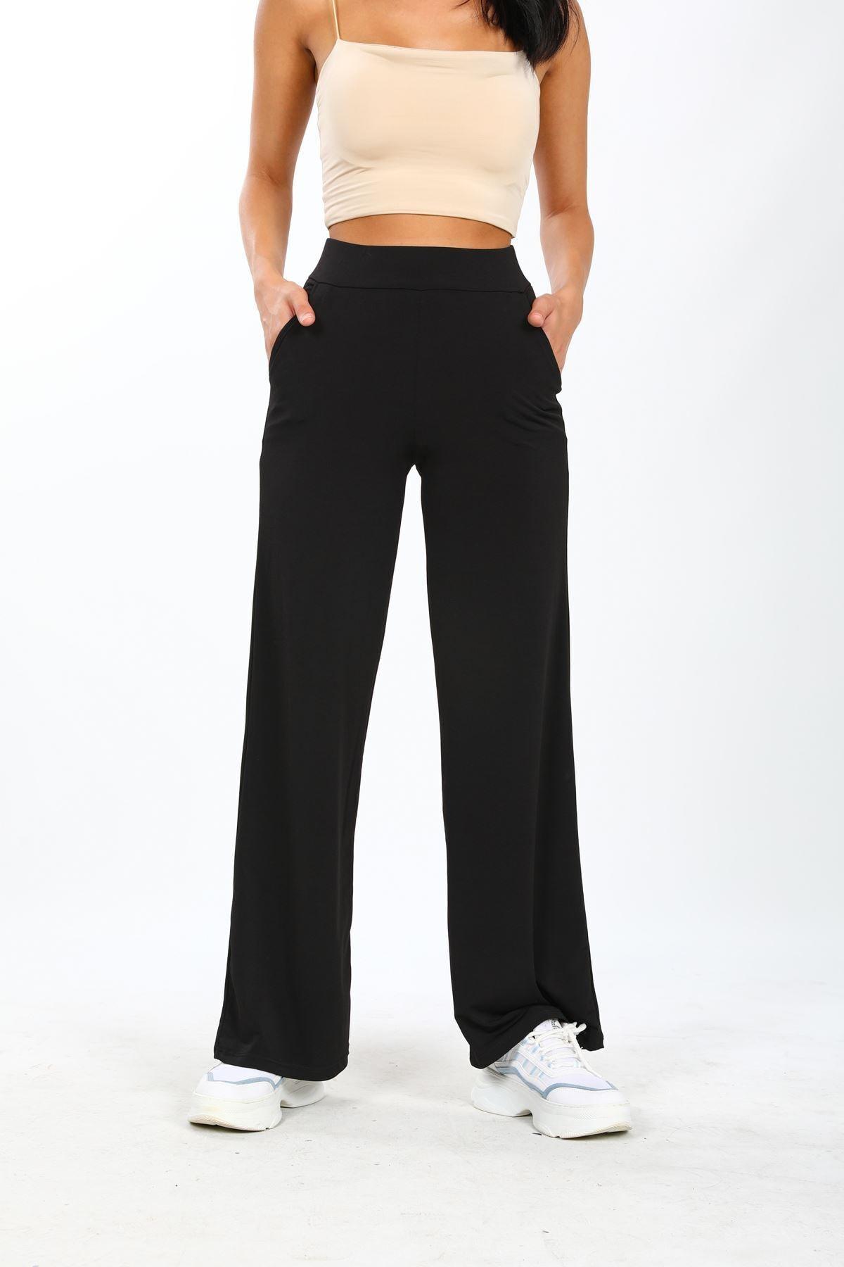 No77 Collection Siyah Sandy Kumaş Belden Lastikli Ve Bol Paça Dökümlü Pantolon 1