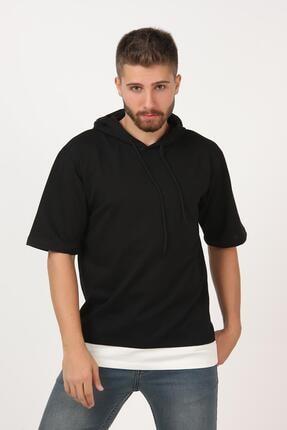 TENA MODA Erkek Siyah Kısa Kollu Kapşonlu Dirsek Kol Oversize Tişört