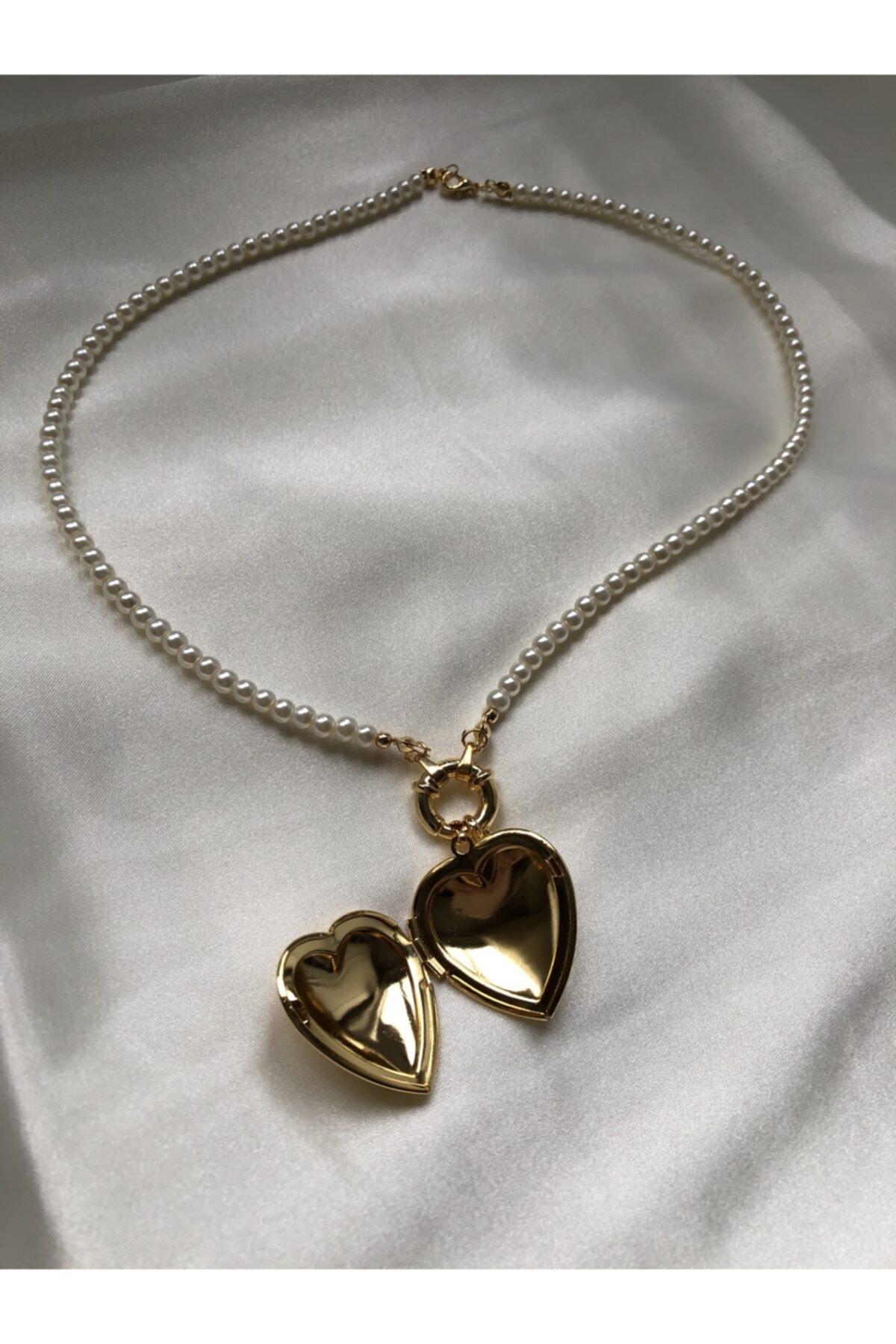 Treasure&Co Kalp Kapaklı Inci Kolye 1