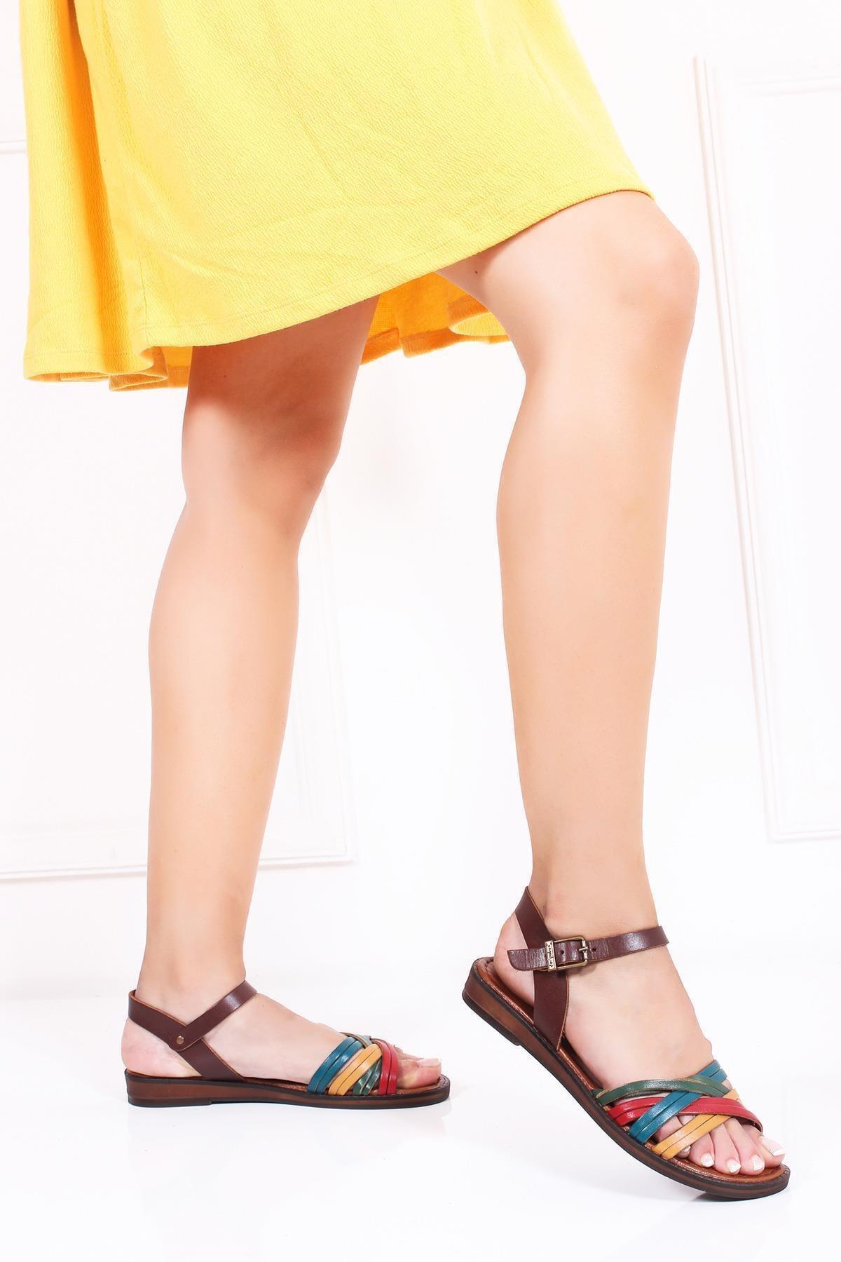 Deripabuc Hakiki Deri Multi-2 Kadın Deri Sandalet Dp-0013 2