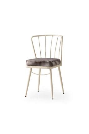 Weltew Home Gupba Sandalye Ekru-siyah (4 Adet)